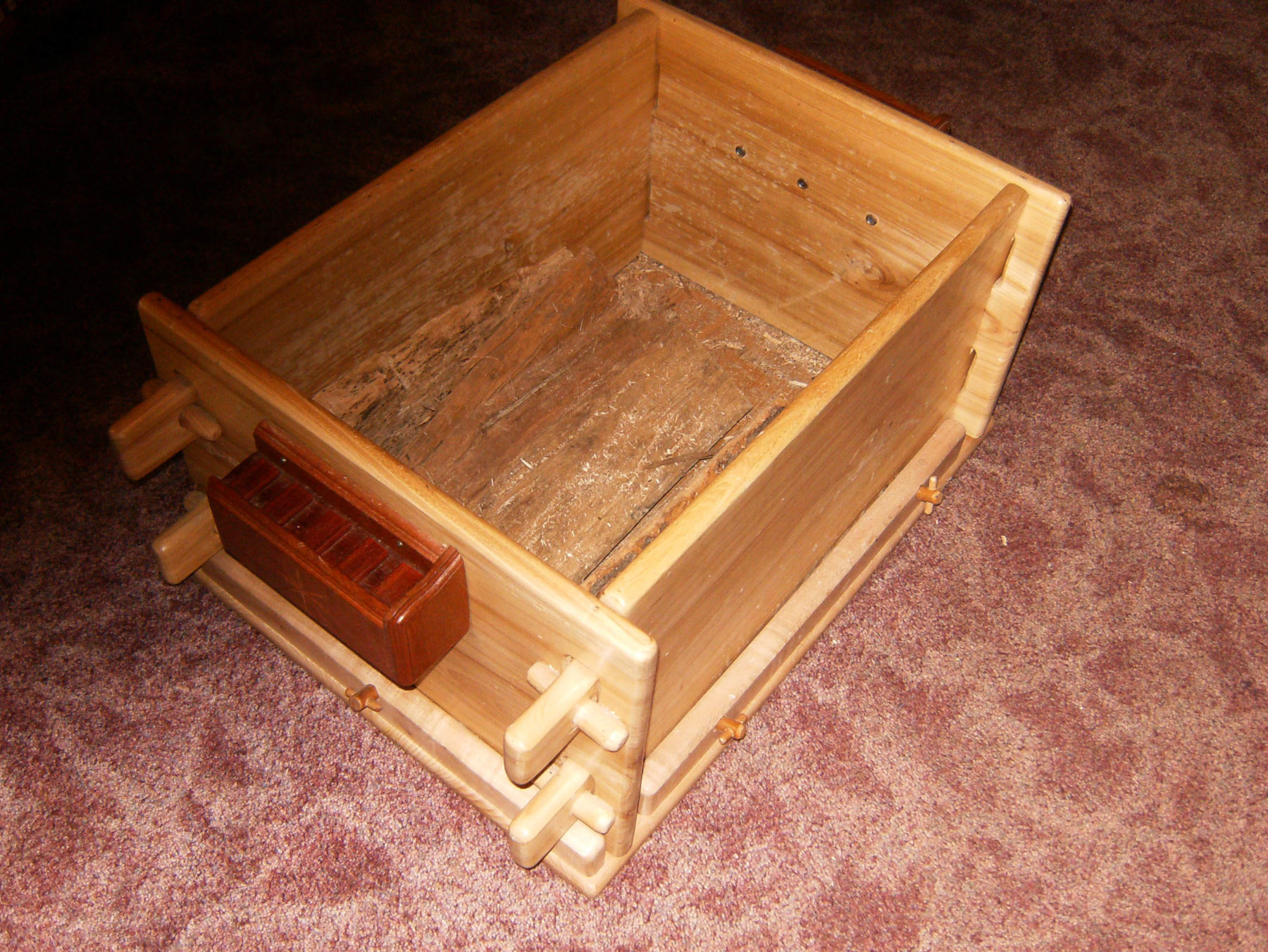 Wood Storage Box. One Of A Kind! Available Now! Made From Dutch Elm, Red  Mohogany And Orange Paduk. Dismantles Easily For Storage And Transporting.